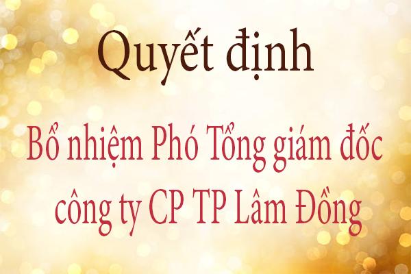 Quyết định bổ nhiệm phó tổng giám đốc công ty Cổ phần Thực phẩm Lâm Đồng